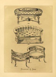 Illustrated designs of cabinet furniture engrav...