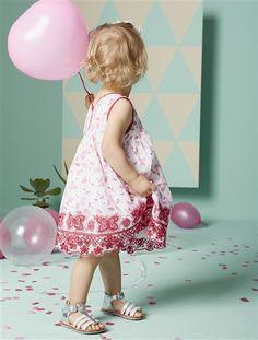 Vestido de cerimónia em cetim de algodão, para bebé menina primavera-verão 2015