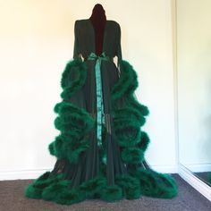 "Image of Deep Green ""Cassandra"" Marabou Gown. Can I just wear this for the rest of my life....."