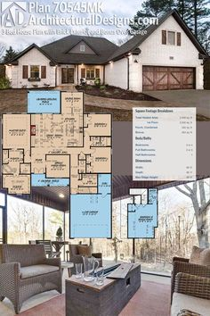 Architectural Designs House Plan has a brick exterior, and with the bonus room with bath over the garage gives yothe potential of having 4 bedrooms. Enjoy square feet of heated living space inside. And the covered grilling porch in back. The Plan, How To Plan, Layouts Casa, House Layouts, New House Plans, Dream House Plans, Lake House Plans, Ranch House Plans, Architectural Design House Plans