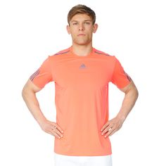 The adidas Barricade tee for men. It's CLIMACOOL® construction provides heat and moisture management through ventilation along with the Mesh panel on the back of the neck for best ventilation and moisture management. It comes in a round neck design with printed ITF compliant stripes on the sleeves.