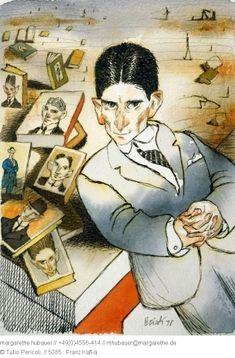 Franz Kafka by Tullio Pericoli  ~Via Uwe Schlemmermeyer