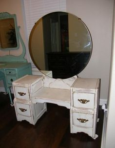 ~*Simple Matters*~ Shabby Chic White Antique Vanity with Round Mirror - $175 (Katy)