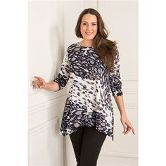 Reflections Printed Dip Hem Top (364978) | Ideal World