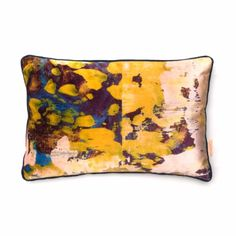 Osmosi Giallo Oblong Printed Velvet Cushion: A luxurious printed velvet cushion with feather filled pad. Contrast fabric back. Susi Bellamy creates vibrant, colorful 'art for the sofa' textiles based on original and unique artwork painted in the studio. Her artwork is inspired by her great love of colour and the time she spent in Florence, Italy. These cushions work well in groups - adding a pop of color to both classic and contemporary interiors. Feather Filled Pad. Designed, Printed and…