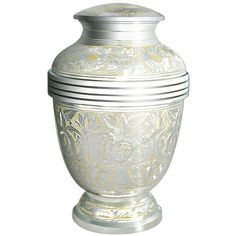 Cremation Urns by Meilinxu - Funeral Urn for Human Ashes Adult or Pet Urns for Dogs Ashes- Hand Made in Brass / Hand Engraved - Display Burial Urn At Home or in Niche at Columbarium (Silvery Shine * See this awesome image  : Home Decorative Accessories