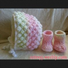 Bonnet and booties for baby girl.