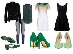 С чем сочетаются зеленые туфли