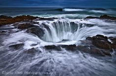 Thor's Well in Oregon    Thor's Well is part of Cape Perpetua, a typical Pacific Northwest headland – a forested area of land on the central Oregon Coast, surrounded by water on three sides.