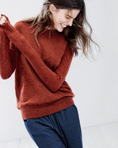 J.Crew women's textured boyfriend cashmere sweatshirt and drapey sweatpant. To preorder call 800 261 7422 or email erica@jcrew.com.