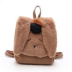 Children Cute Soft Plush Rabbit Backpack Big Long Ears Cartoon Women Mini  Back Pack School Bags For Teenage Girls Rucksacks 999415a316