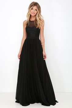 LuLu*s Exclusive! Your mission for the night will be to try not to blush as everyone compliments you on the I'm Flattered Black Embroidered Maxi Dress! A sheer, mesh decolletage fastens at back (with a hidden clasp) above a keyhole before meeting an embroidered organza bodice with a sweetheart silhouette. Banded waist leads into a luxurious pleated maxi skirt. Hidden back zipper and clasp.