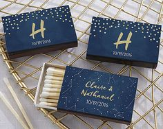 ♥Palm sized and perfect, Under the Stars Personalized Black Matchbox favors are just waiting to be adorned with your own special details like names, monogram or event date. ♥Even better, you can add your custom details on a beautiful navy blue sticker, featuring your choice of starry night inspired designs in gold. ♥Black matchboxes featuring personalized navy blue labels with two design options - gold stars or gold dots ♥Each matchbox contains approximately 20 match sticks ♥Measures 2.25…