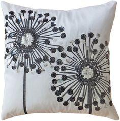 """Decorative Black Sequins Dandelion Floral Throw Pillow COVER 18"""" White, http://www.amazon.com/dp/B00F8RRCOM/ref=cm_sw_r_pi_awdm_EVN6tb01DW72V"""