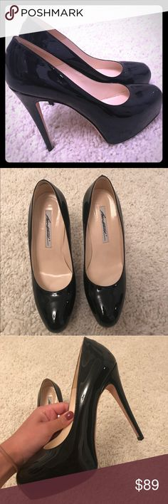 Brian Atwood patent black pumps size 8 heels This is a reposh. Per the seller, these heels we worn once. A few light scuffs, I️ might try to take off with alcohol that usually does the trick. Brian Atwood Shoes Heels