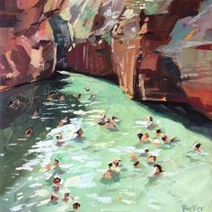 """Daily Paintworks - """"Swimming Green"""" - Original Fine Art for Sale - ©️️ Teddi Parker"""