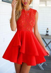 With Zipper Lace Insert Flare Red Underskirt Drop Waist Dress