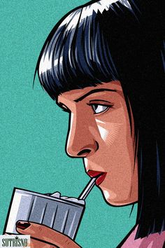 Ms Mia Wallace detailed, premium quality, magnet mounted prints on metal designed by talented artists. Pop Art Posters, Movie Poster Art, Poster Prints, Arte Pulp Fiction, Pulp Fiction Tattoo, Mia Wallace, Pop Art Wallpaper, Creation Art, Guache