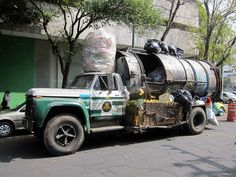 A garbage truck in Mexico City.