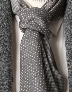 blurring the line between tie and scarf -- great contrast of textures and patterns