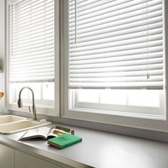 "JCPenney Home™ 2"" Embossed Faux-Wood Horizontal Blinds  found at @JCPenney . For the kitchen windows,"