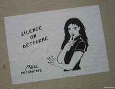 Miss.Tic - Silence on détourne Art Pictures, Photos, Art Mur, Land Art, Street Artists, Urban Art, Pop Art, Stencils, Images