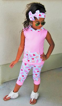 Pink Watermelon Hooded Capri Set