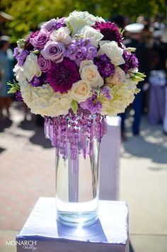 Multi-purples wedding flower center pieces  Karen Tran centerpiece.