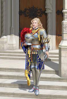 f Paladin Plate Armor Helm Sword urban City Temple street lg Armadura Medieval, Female Armor, Female Knight, Lady Knight, Fantasy Armor, Medieval Fantasy, D D Characters, Fantasy Characters, Fantasy Character Design