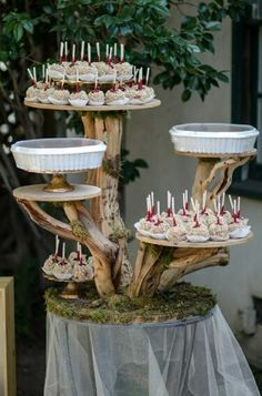 Tree cake stand, nature, woods, forrest wedding