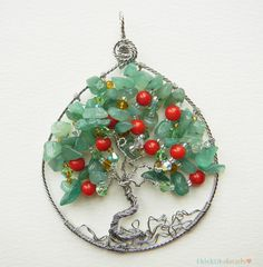 Apple Tree Pendant / Tree of Life (red corals & aventurine) on Etsy, $39.00