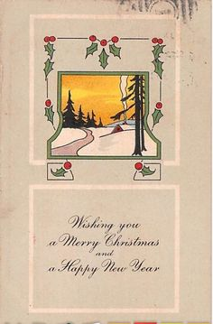 1918 Art Deco Christmas Postcard-Holly Around Snowy Scene at Sunse