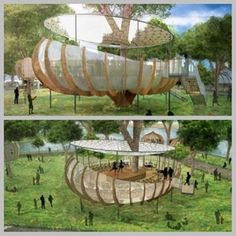 Invisible Works has unveiled plans to fill one of London's city parks with a series of fantastical treehouse-like semi-permanent structures. The designers hope that the installations will inspire people to spend more time outdoors. Invisible Works intends for the temporary structures to remain in one of London's parks for 10 years, during which time the spaces can be used as a venue for concerts, movie screenings and other public events.