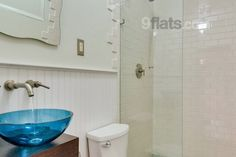 Accent on the original blue sink in this bathroom in a bungalow in Miami http://www.roomyeti.com/rentals/united-states/627773/