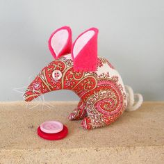 Retro ReBorn Mouse 70s Pink and White Paisley  by audreyscat, £10.00
