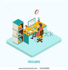 Freelancer at work. Isometric 3D concept, vector illustration