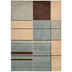 A colorful geometric design highlights this machine-made Monaco rug. This area rug features polyester and wool construction in shades of red, beige, brown, green and blue.