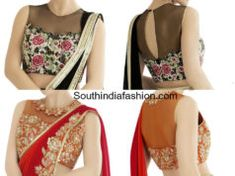 High Neck Embroidered Net Blouse Designs