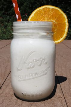 Orange Creamsicle Frappe - A creamy, healthy drink that tastes identical to an orange creamsicle. It is made with coconut milk, orange juice, milk and stevia.