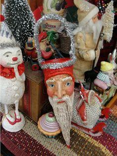 Vintage Christmas Ornaments - Candy cone Santa