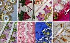 Bak Bak Bitmez 107 Farklı Tığ İşi Başörtüsü Havlu Kenarı Oya Modeli Crochet Lace Edging, Baby Knitting Patterns, Kids Rugs, Erdem, Crochet Accessories, Crochet Stitches, Punch Needle, Hand Art, Towels