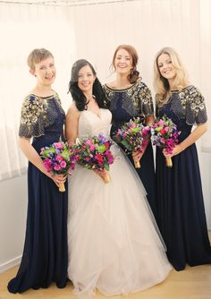 Bridesmaids wear Virgo's Lounge Raina dress in navy with gold embellishment, from ASOS | Photography by http://helenrussellphotography.co.uk/