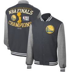 edfb75a10 Golden State Warriors Fanatics Branded 2018 NBA Finals Champions Front  Court Full-Snap Varsity Jacket – Heather Charcoal