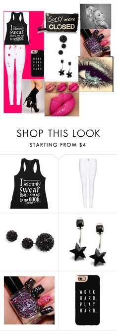 """""""Black and Sexy"""" by browneyez02 ❤ liked on Polyvore featuring Frame Denim, Topshop, Casetify and Betsey Johnson"""