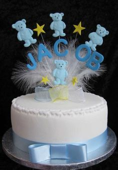 Personalised Blue Teddy Cake Topper Any Name With Marabou Feathers Ideal For A Christening Or Naming Day by Karen's Kakes, http://www.amazon.co.uk/dp/B00JCRMJJC/ref=cm_sw_r_pi_dp_6miotb0PFGE8J