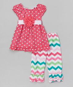 Loving this Fuchsia Polka Dot Tunic & Zigzag Pants - Infant, Toddler & Girls on #zulily! #zulilyfinds