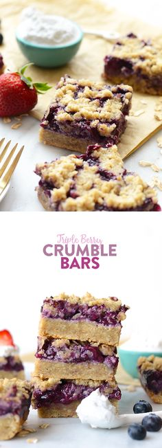 Triple Berry Crumb Bars are the perfect summer treat. They're sweet and tart at the same time and the best part is, they're healthy!