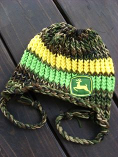 NewbornChild Knitted Camo/Green/Yellow John Deere by pinkiebows Baby Boy Camo, Camo Baby Stuff, Crochet Baby Boy Hat, Crochet Hats, Crochet 101, Crochet Pattern, John Deere Hats, My Bebe, Baby Hats