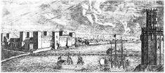 El castillo de la Inquisición en Triana (Sevilla) y la Torre del Oro. Aguafuerte de Meunier (1665-68)