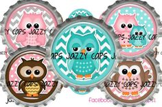 Printed Precut CHEVRON OWLS Teal Brown Pink 1 Inch by CapZone, $2.50